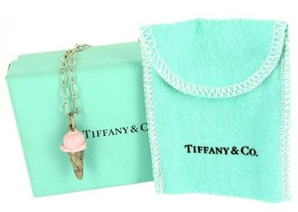 Tiffany & Co. very good (VG Sterling Silver Pink Ice Cream Pendant Necklace