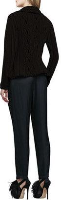 Alexis Muriel Perforated-Sleeve Top, Black