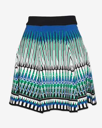 Torn By Ronny Kobo Abstract Jacquard Flare Skirt