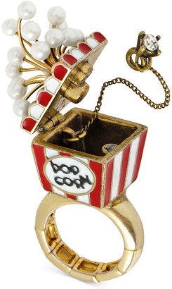 Betsey Johnson Antique Gold-Tone Popcorn Stretch Ring