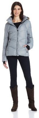 Calvin Klein Women's Short Chevron Down Jacket with Faux-Fur Hood