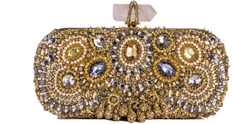 Marchesa Lily Medium Embroidered Crystal Clutch, Gold