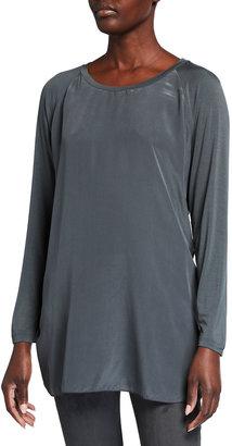 MAX MARA LEISURE Panetto Silk Front Raglan-Sleeve Jersey Top