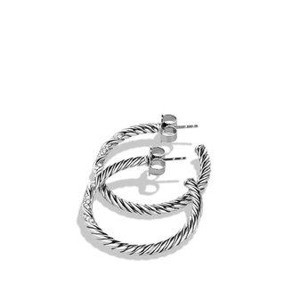 David Yurman Willow Medium Hoop Earrings with Diamonds