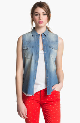 Vince Camuto Two by Sleeveless Chambray Shirt Vintage Medium