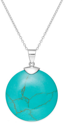 Manufactured Turquoise Circle Pendant Necklace in Sterling Silver (26 ct. t.w.)