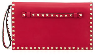 Valentino Rockstud All-Around Flap Wristlet Clutch Bag, Pink