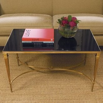 Global Views Enjoy A Brink In Style Coffee Table Color: Brass with Black Top