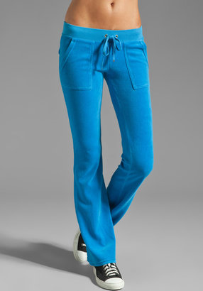Juicy Couture Velour Bootcut Pant w/ Snap Pocket