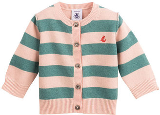 Petit Bateau Baby Girl Two-Color Striped Cardigan In Wool And Cashmere