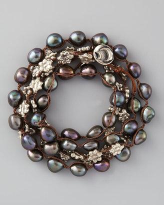 Love Heals Pearl Wrap Bracelet, Peacock
