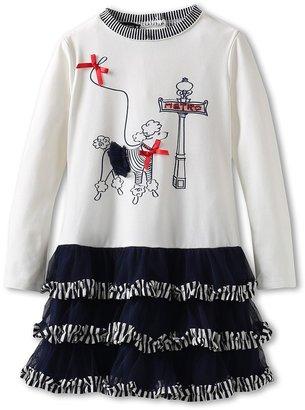 Kate Mack Poodle In Paris Poodle Dress (Toddler) (Navy Blue) Girl's Dress