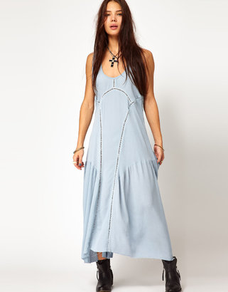 One Teaspoon Dirty Cash Dress with Cutwork Detail - Blue