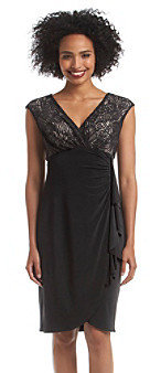 London Times Sleeveless Lace Surplice Top Mock Wrap Dress