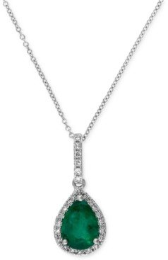 Effy Brasilica by Emerald (9/10 ct. t.w.) and Diamond (1/8 ct. t.w.) Drop Pendant in 14k White Gold, Created for Macy's