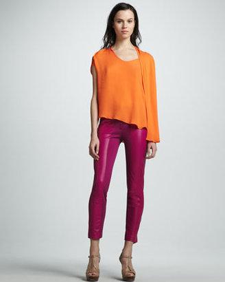 Halston Slim Ponte/Leather Pants