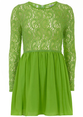 Dorothy Perkins Green sleeved lace top skater