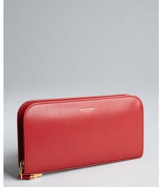 Saint Laurent red leather zip continental wallet