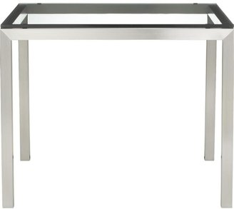 """Crate & Barrel Clear Glass Top/ Stainless Steel Base 36"""" Sq. Parsons Dining Table"""