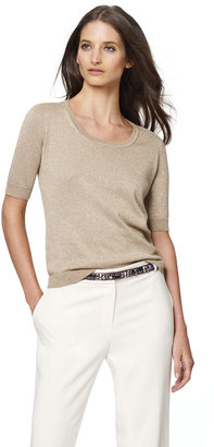 Jones New York Collection Elbow-Length Top with Shimmer Accents