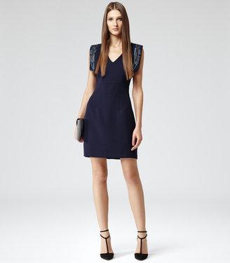 Reiss Riviera EMBELLISHED SHOULDER SHORT DRESS