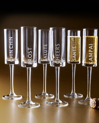 Horchow Six Celebration Champagne Flutes