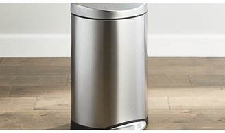 Crate & Barrel simplehuman ® 10-Liter/2.6-Gallon Semi-Round Stainless Steel Step Trash Can