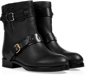 Chloé Leather Biker Boots in Black