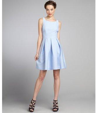 Taylor light blue ribbed cotton blend sleeveless racerback dress