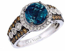 LeVian LE VIAN 14k White Gold Ring with Blue Topaz and 0.35 TCW Diamonds