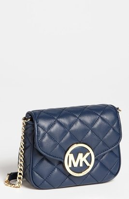 MICHAEL Michael Kors 'Fulton - Small' Quilted Leather Crossbody Bag Navy
