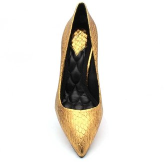 "Brian Atwood Malika"" Metallic Gold Snake Print Leather Pump"