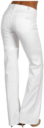 7 For All Mankind Kimmie Curvy Fit Bootcut w/ Dot Squiggle in Clean White Women's Jeans