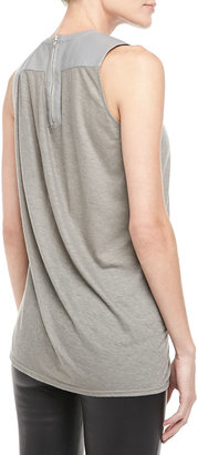 Helmut Lang Leather-Panel Draped Top