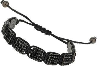 Topman Black Rhinestone Adjuster Bracelet