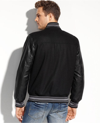 GUESS Coats, Mixed-Media Varsity Bomber Jacket