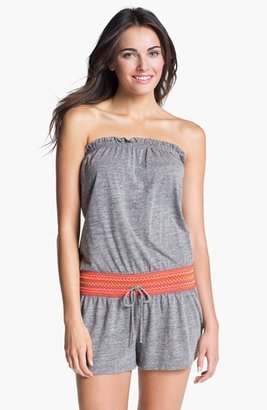 Lucky Brand Swimwear 'Fiesta Fever' Romper Cover-Up Heather Medium/Large