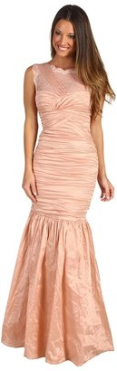 BCBGMAXAZRIA Geo Lace Yoke Gown (Light Cameo) - Apparel