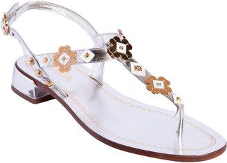 Prada Thong Flower Appliqué Sandal