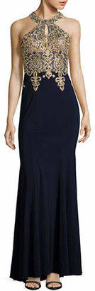 Xscape Evenings Halter Keyhole Beaded Gown
