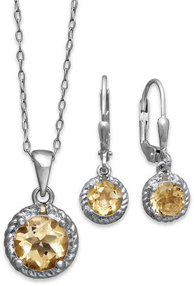 Townsend Victoria Sterling Silver Jewelry Set, Citrine (3 ct. t.w.) and Diamond Accent Pendant and Earrings Set