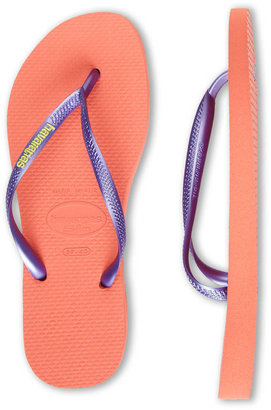 Havaianas Purple & Salmon Textured Flip Flops