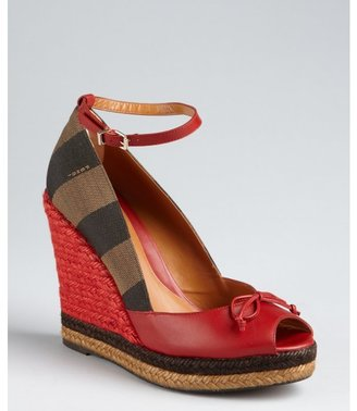 Fendi red leather and striped canvas ankle strap espadrilles