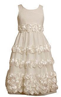 Bonnie Jean Girls' 7-16 White Satin Bonaz Flower Dress