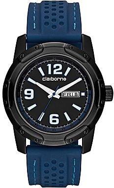 Claiborne Mens Blue Rubber-Strap Watch