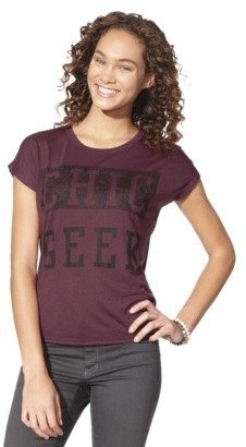 Chic Juniors Geek Keyhole Back Graphic Tee - Red