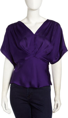 Neiman Marcus Dolman-Sleeve Twist-Front Top, Imperial Purple