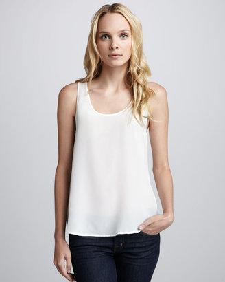 French Connection Relaxed Silk Tank, Ivory