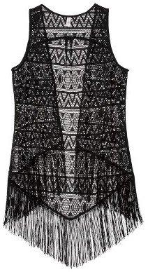 Xhilaration Fringe Vest Black
