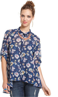 Bar III Top, Short-Sleeve Floral-Print Blouse